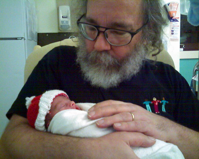 Neil with great-nephew Jacob in NICU 2006